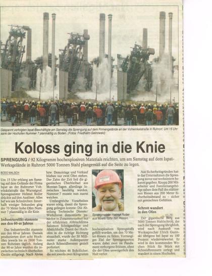Salomon Abbruch, Sprengung Hochofen, Zeitungsartikel